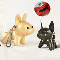 French Bulldog Keychain Faux Leather Key Ring Cute Holder Bag Charm Keyfobs Gift