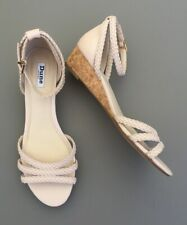 Dune Wedge Sandals 8 41 Nude Pink Vegan Leather Small Heel Kassidy Ankle Strap