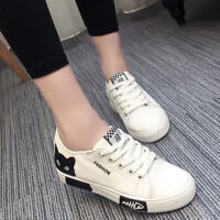 Women Casual Cat Print Canvas Sneaker Shoes Lace Up Flat Athletic Sport Plimsoll
