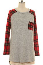 NWT Small S Heather Gray Red Tartan Plaid Long Sleeve Pocket Tunic Top Shirt
