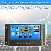 10A-60A PWM Controlador de Carga Solar Panel Batería Regulador 12V/24V Dual USB