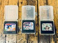Sonic the Hedgehog, Sonic 2, And Taz-Mania Game Gear Lot - Cartridges With Case