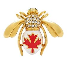 Very Rare Joan Rivers Maple Leaf Bee Pin Brooch - Canadian Exclusive