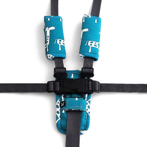 Outlook 3 Piece Harness Cover Set - Teal Giraffe Cotton Baby Comfort Cotton