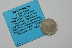 GUADELOUPE 50 CENTIMES 1921 NICE SHARP DETAILS B18 #K2054