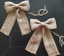 Burlap Bow Pair (2) Single Loop Pew Chair Bow Rustic Wedding Wreath Baby Shower