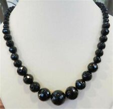 "Faceted 6-14mm Black Agate Round Onyx Gems Beads Necklace 18"" JN361"