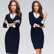 New Women V-Neck Bodycon Dress Pencil Slim Formal 3/4 Sleeve Sheath Office Wear