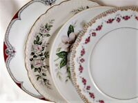 4 Vintage Mismatched China Dinner Plates Bold Florals Cottage Chic Garden  218