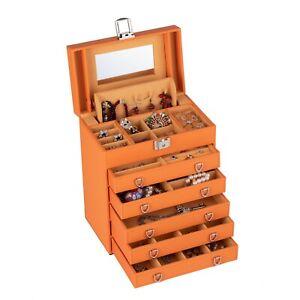 Large Orange Jewellery Box Rings Case Storage Organiser Xmas New Year Gift 199