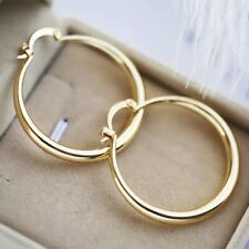 Women's Elegant Gold Plated Round Pierced Hoop Earrings