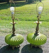 Pair of VTGTable Lamps Mid Century GREEN Art Glass Hollywood Regency Retro