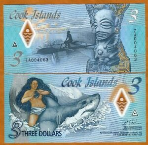 Cook Islands, $3, 2021 Naked Ina & a shark P-New Polymer UNC > ZA - REPLACEMENT