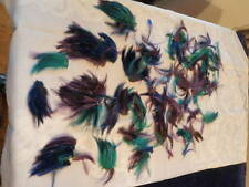 "Vintage Millinery Flower Feather Trim Collection 3"" -6"" Blue Green Purple H1441"
