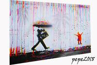 Rainbow Rain man Joy Life Framed Canvas pepe street graffiti Print Art Painting