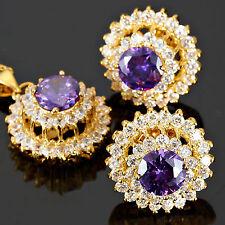 Schmuck Jewelry Set Purple Amethyst Round Cut Necklace Pendant Earrings