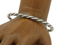Navajo TAHE Multi Strand Handmade 925 SOLID Sterling Silver 4.0 mm Cuff Bracelet