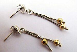 925 Sterling Silver long Drop Dangle Earrings - gold plated