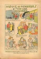 Caricature Province-Paris Train Métro Concierge Pijama Billard 1937 ILLUSTRATION