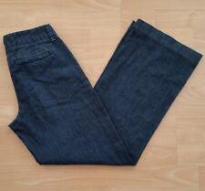 LL Bean Women's Wide Leg Cuffed Pants Size 4 Blue Dark Wash