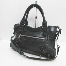 Auth BALENCIAGA Giant City Covered Handbag Shoulder Bag 2Way Mirror Black