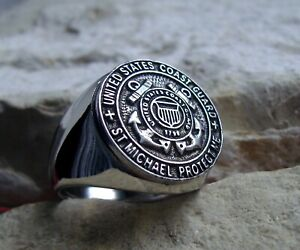 US COAST GUARD RING USA ARMY ST MICHAEL BAGUE PATCH SILVER PIN [ D29 STEEL ]