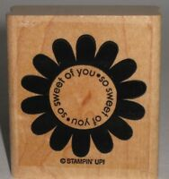 "Stampin' Up! Rubber Stamp ""so sweet of you"" Daisy Wood Mount  2"" x 2.25"""