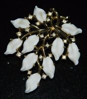 VTG CROWN TRIFARI Gold Tone White Lucite Leaf Flower Rhinestone Pin Brooch