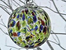 "Hanging Glass Ball 4"" Diameter Lime, Orange, Red, Purple, Blue Specks (1) HB33"