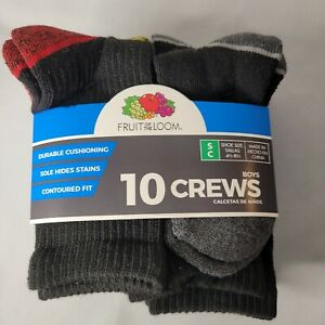 Fruit of the Loom Boys Socks 10 pairs Crew Style Shoe Size Small 4 1/2-8 1/2 NEW