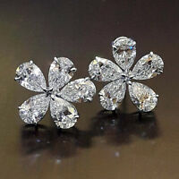 Flower Style stud Earrings 4.00 Ct Diamond Pear Shape 14K White Gold Over