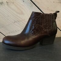 Nurture Women's Size 6M Walker Brown Tooled Leather Ankle Booties Boots