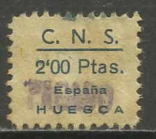 7050-SELLO CUOTA C.N.S, FALANGE ESPAÑOLA HUESCA 2 PESETAS,GUERRA CIVIL ESPAÑA.SP