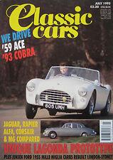 Classic Cars 07/1993 featuring Aston Martin Lagonda, AC Ace-Bristol, Cobra, MG