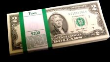 100 $2 Bills - CRISP, NEW, Consecutive Two Dollar Notes with BEP Pack Chgo Fed
