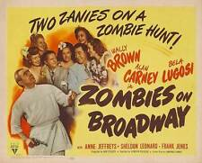 ZOMBIES ON BROADWAY Movie POSTER 22x28 Wally Brown Alan Carney Bela Lugosi Anne