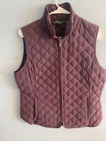Eddie Bauer Women's Purple Quilted Premium Goose Down Light Weight Vest Medium