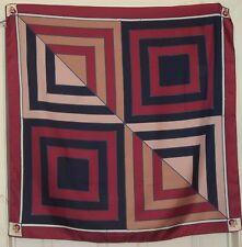 """TERRIART Wine, Navy, Khaki Box Stripes 34"""" Square Scarf-Vintage"""