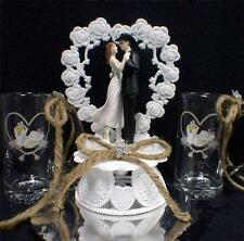 Wedding Cake topper LOT W/ set of Country Western Print  beer Stein Glasses