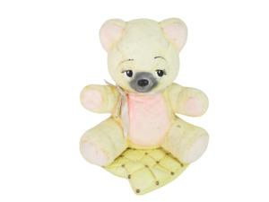 Hand Painted Ceramic Teddy Bear Sitting on a Blanket 2 Pcs Yellow Pink Nursery