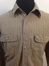 MENS LONG SLEEVE TIMBERLAND BUTTON FRONT SHIRT SIZE L Ivory Brown Striped