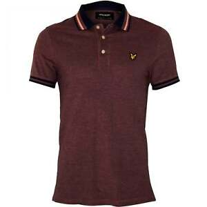 Lyle & Scott Tipped Oxford Pique Men's Polo Shirt, Navy/Lilac Marl