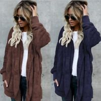 Ladies Womens Winter Warm Fleece Fur Jacket Outerwear Tops Hooded Fluffy Coat