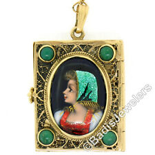 Antique French 14k Gold Turquoise Enamel Portrait Hinged Locket Pendant Necklace
