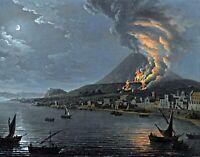 Eruption of Vesuvius by Italian Pietro Antoniani. Wall Art Repro Canvas or Paper