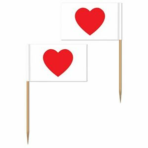 Valentines Day Red & White Heart Flag Picks x 50