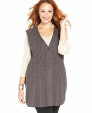 Styleco. Plus Size Sleeveless Cable-Knit Charcoal 1X