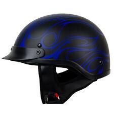 S M L XL XXL PGR B08 CONVICT MATTE BLACK BLUE Motorcycle DOT Half Helmet Chopper