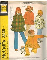 3435 Vintage McCalls Sewing Pattern Girls Poncho Pants 1970s Step by Step 8 Easy