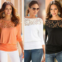 Women Summer Lace Embroidery Loose Short Sleeve Casual Tank Blouse Tops T-Shirt